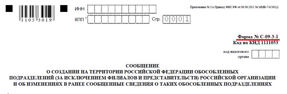 Как выглядит форма С-09-3-1